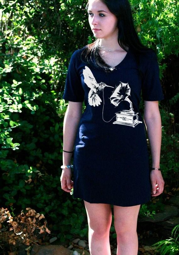 DJ Hummingbird Navy T-Shirt Dress