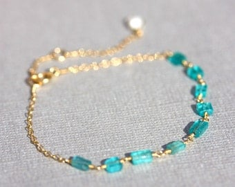 Bathsheba. Turquoise Apatite, Pearl & Gold Chain Bracelet