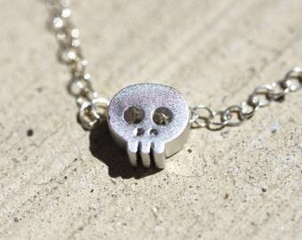 Silver Skull Baby. Rhodium Mini Skull Charm & Silver Necklace.