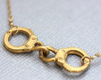 Gold Handcuff Bracelet Arrested - Gold Handcuff Charm and Fresh Water Pearl Bracelet