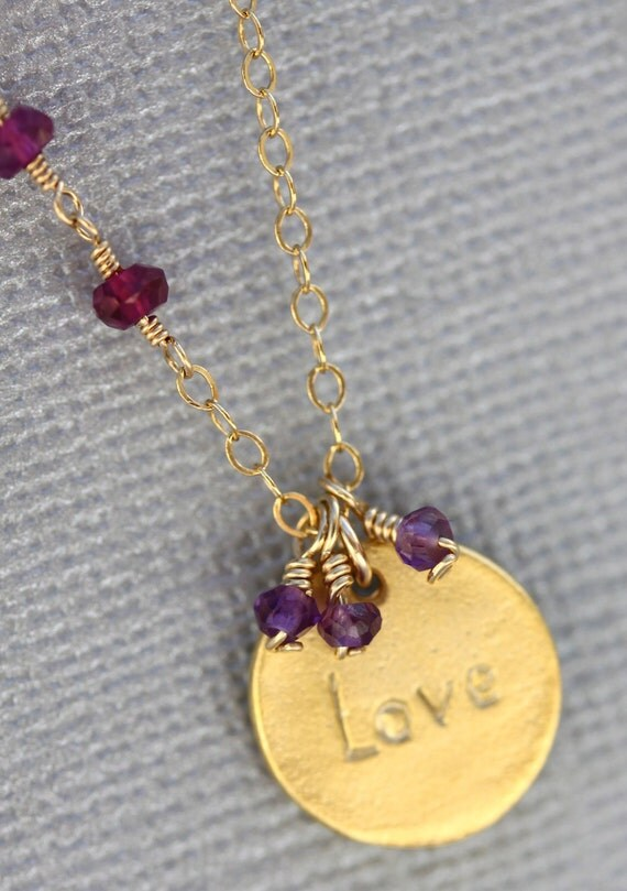 Gold Love Necklace. Gold Love Charm Purple Amethyst, Garnet & Gold Charm Necklace
