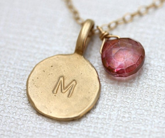 Custom Personalized Initial Gold Charm Necklace with Birthstone and Gemstones