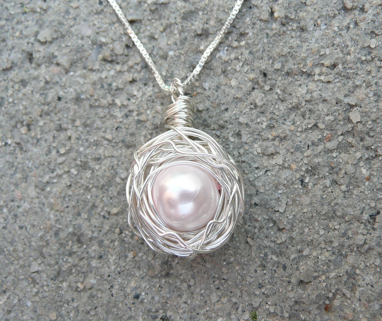 birds nest necklace sterling silver