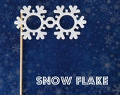 Photobooth prop Snowflake glasses on a stick