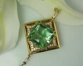 Amazing Square Cushion Cut New Hampshire Found Green Fluorite and White Diamond 18K Gold Hand Made Pendant