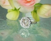 Herkimer Diamond Ring Champagne Shades with White Topaz Accent Gems