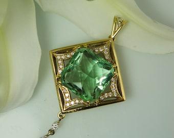 Custom Jewelry Design, !8k Gold Custom Jewelry, Green Fluorite Pendant, Custom Gold Jewelry