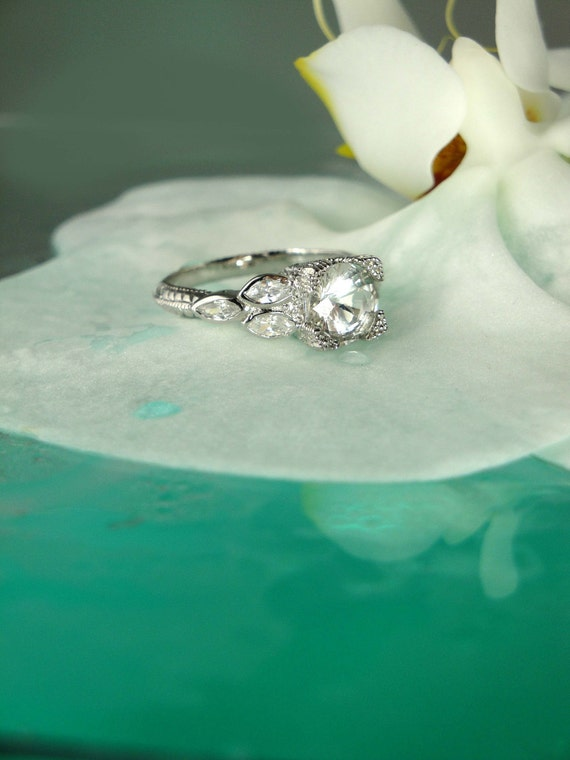 Stunning Antique Style Sparkling Herkimer Diamond and Sterling Silver Ring