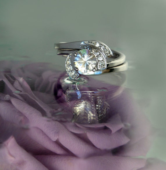 Reserved Listing for Aaron  -  Pearl Engagement Ring with Matching Band