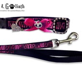 Pink Zebra Skull Bow Dog Collar with Rhinestones AND Matching Leash Set, Small or Medium -- Free Charm
