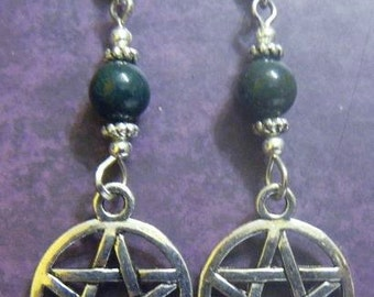 Pentacle Earrings with Bloodstone