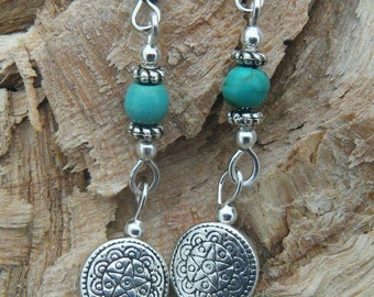Discreet Pentacle Earrings with Turquoise