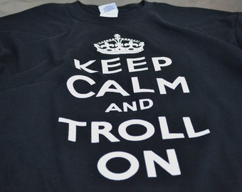 Black Keep Calm Tshirt for Men Gamer Geek Gifts Troll On Internet Trolls Keep Calm T-shirts for Men and Teens