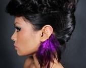 Badger Purple Feather Ear Cuff