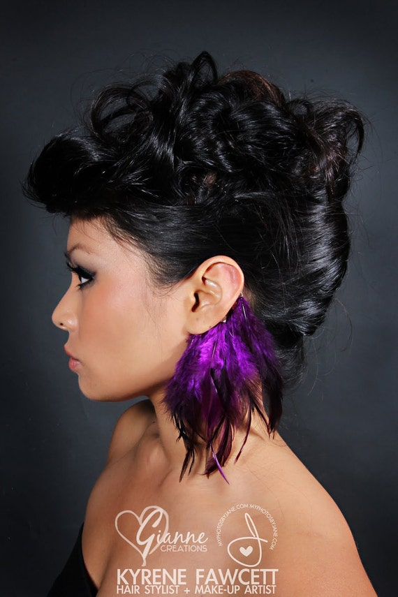 Badger Purple Feather Ear Cuff
