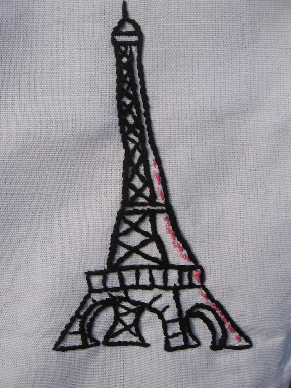 Made to Order-Hand Embroidered Eiffel Tower Tea Towel