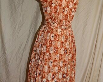 1950's Brown Print Shirtwaist Dress