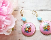 Bohemian Pink Floral Cameo Earrings. Urban Vintage. Boho Chic Earrings, Pink and Turquoise Floral Earrings.  Fall. Autumn.  Holidays. Gift