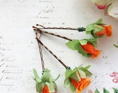 Whimsical Tangerine Flower Hair Pins. Orange Rose, fall, autumn, bridesmaids,  Weddings Hair Pins. Hair Accessories.  Set of 4