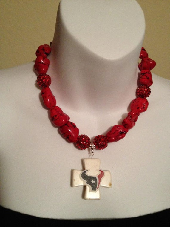 Red Nugget Texans Necklace