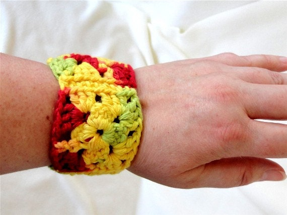 Bright Tropical Colored Cuff Bracelet - Hand Crocheted