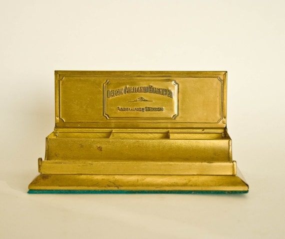 Brass Desk Top Organizer by Oregon Portland Cement Co