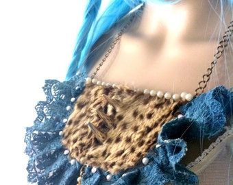 taxidermy bib necklace with vintage spotted fur spikes and lace, on sale - TEA PARTY
