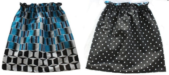 Fully Reversible Elastic Skirt - African Geometric Print and Black & White Polka Dots. Waist 28 inches. Adult size S/M.