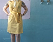 Vtg 60s Deadstock from Federals / Yellow Stripes & Polka Dots / Mod Scooter Dress