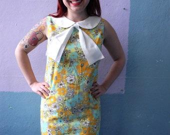 Vtg 60s Mod Floral Dress / Peter Pan Collar / Baby Doll Shift Dress