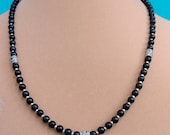 Obsidian and Sterling Silver Necklace, One of a Kind