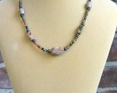 Casual Unakite and Glass Necklace, One of a Kind