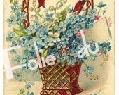 Blue flowers basket illustration - Antique French Chromolithograph Postcard 1900s - 1905