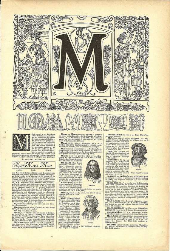 Letter M - French Art nouveau Calligraphy - Allegory of September and October - 1922 print