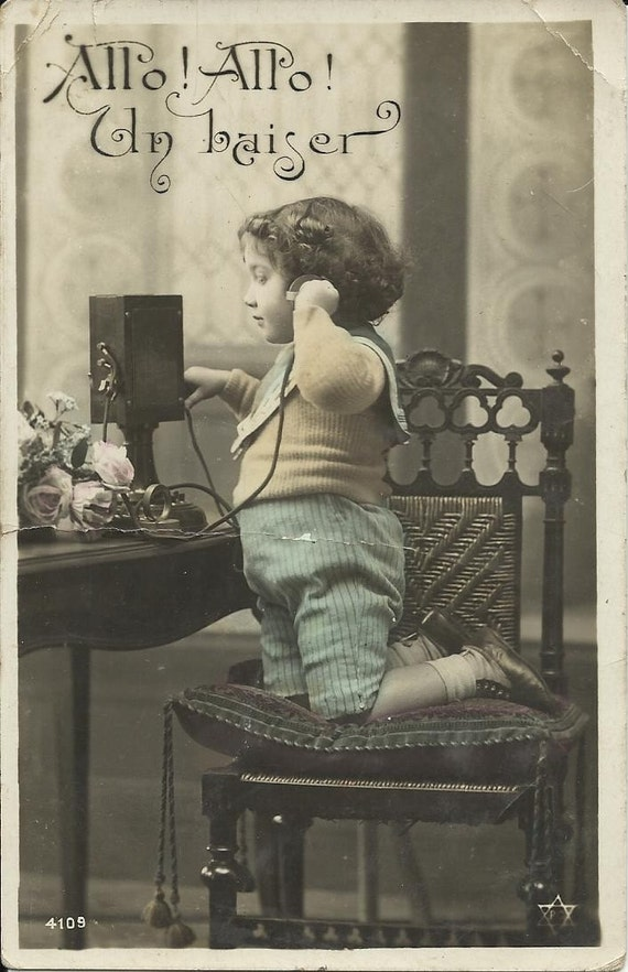 Antique french postcard - kid, child old phone tinted real photo 1900s