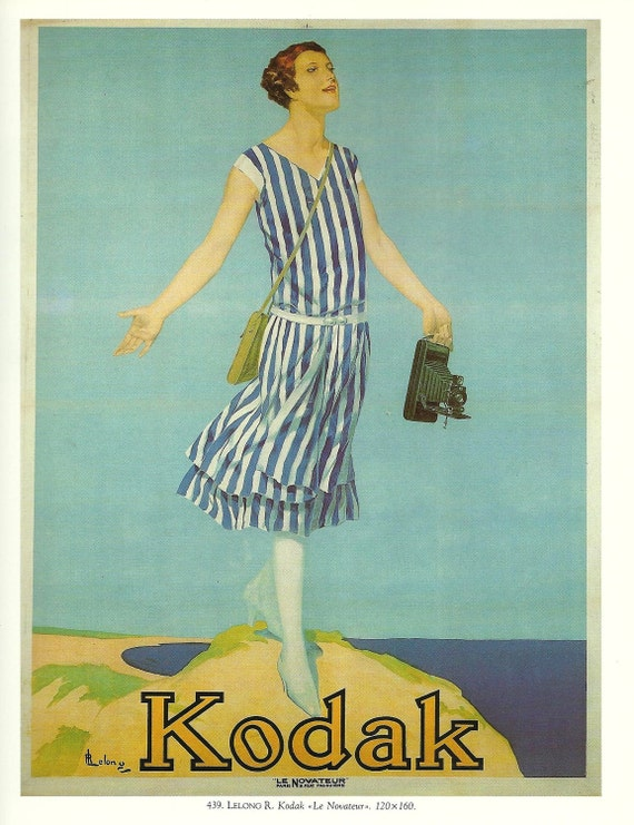 Vintage French HOLIDAYS Kodak camera advertising poster