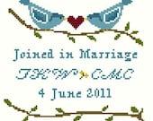 Lovebirds Wedding Sampler Cross Stitch Kit