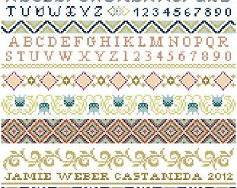 Ornamental Band Sampler Cross Stitch Pattern PDF