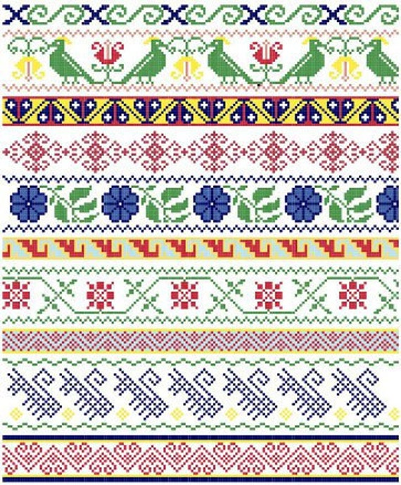 Mexican Folk Borders - Cross Stitch Pattern ** Instant Download PDF