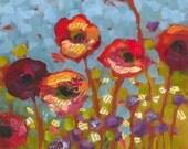 Red Flowers Poppies Original Painting