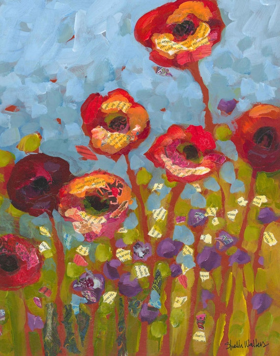 Red Flowers Poppies Original Painting