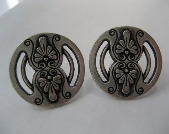 Antique Pewter Vintage Button Post Earrings