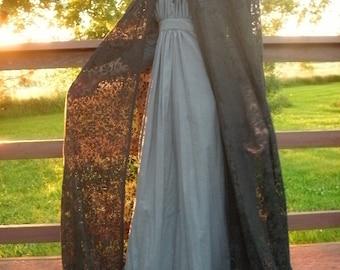 Full, Gorgeous Lace Cloak----- MADE TO ORDER--- Custom Made Lace or Fabric Cloak--- Costume Cloak, Costume Cape, Wedding Cloak