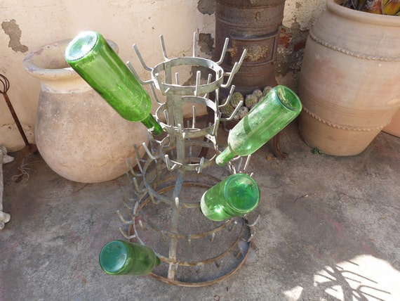 Antique French bottle rack 1920s BIG wine bottle drying rack, French country cottage garden Jeanne d arc living decor