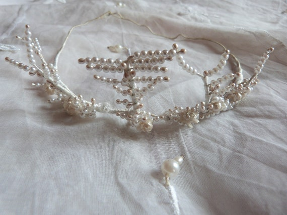 Antique French bridal tiara crown headband bee wax w beads wreath for bride, Victorian wedding hair accessory, romantic love, great display