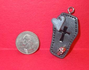 Coffin Charm Goth Necklace, Halloween Goth Charm