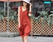 Single Big Pocket Vest Dress in Red - NC037