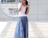 Gray Blue Sexy Casual Pleat Long Maxi Skirt - NC109