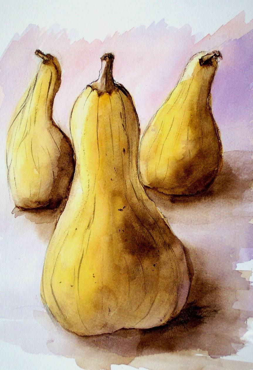Yellow Squash, Three Squash, Purple Background, Original, Watercolor Painting, golden, gourd