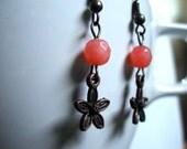 SALE 15% off: Earrings -- Hot House -- peach agate, flower dangles, antique copper